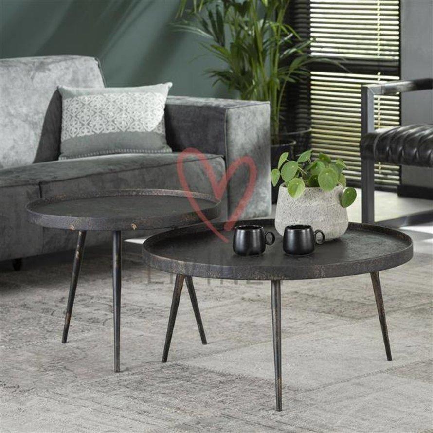 Industriële salontafel set Rive rond grijs metaal