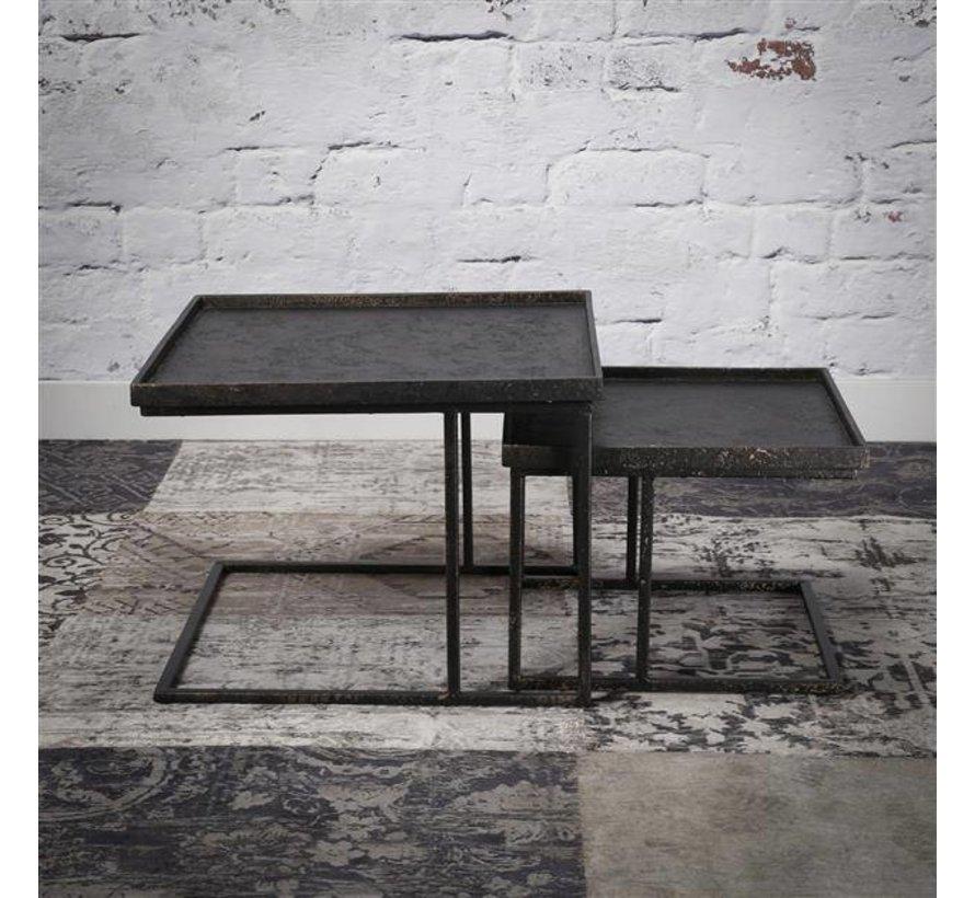 Metalen Salon Tafel.Salontafel Set Kube Vierkant Metaal Gratis Verzending