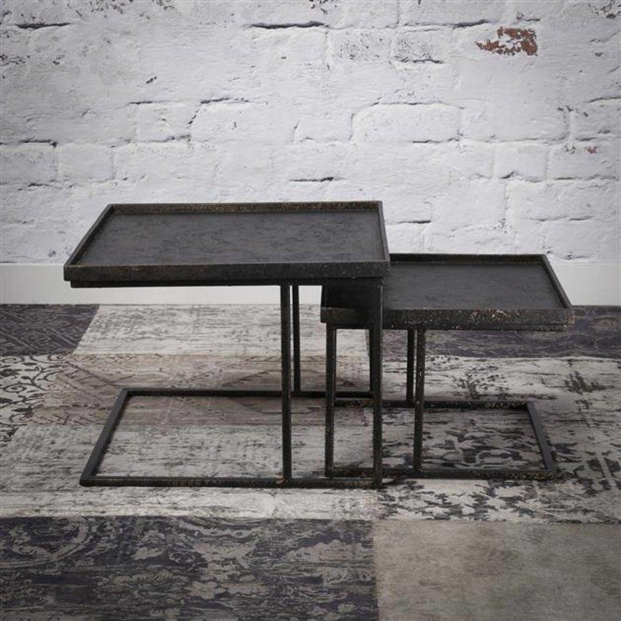 Industriële salontafel set Kube vierkant metaal