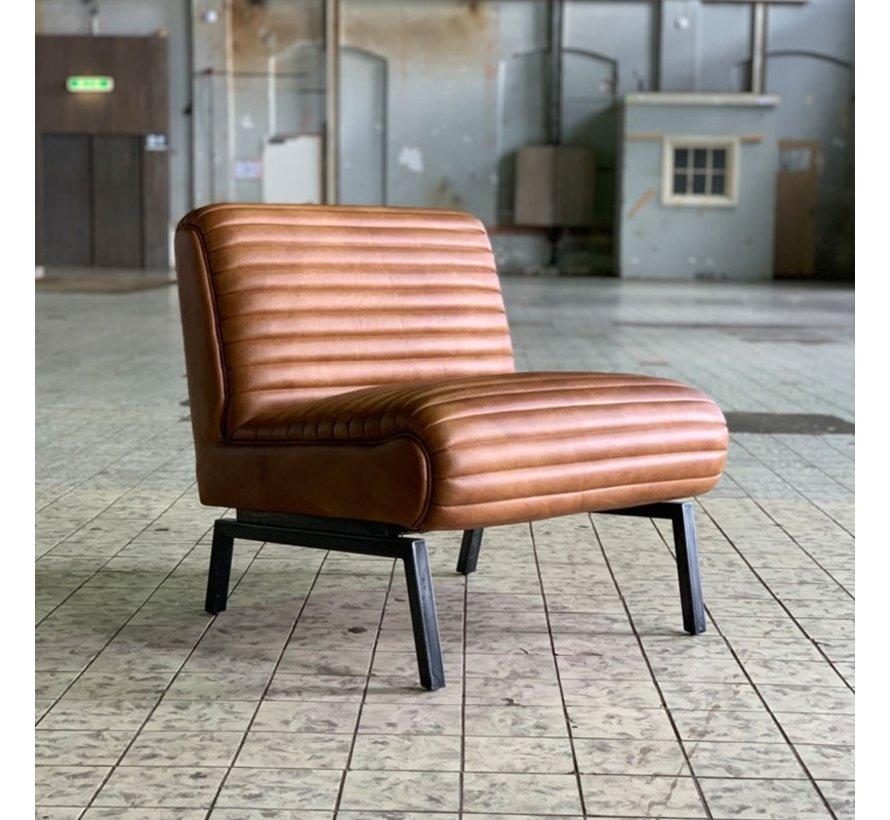 Industriële fauteuil Karel cognac