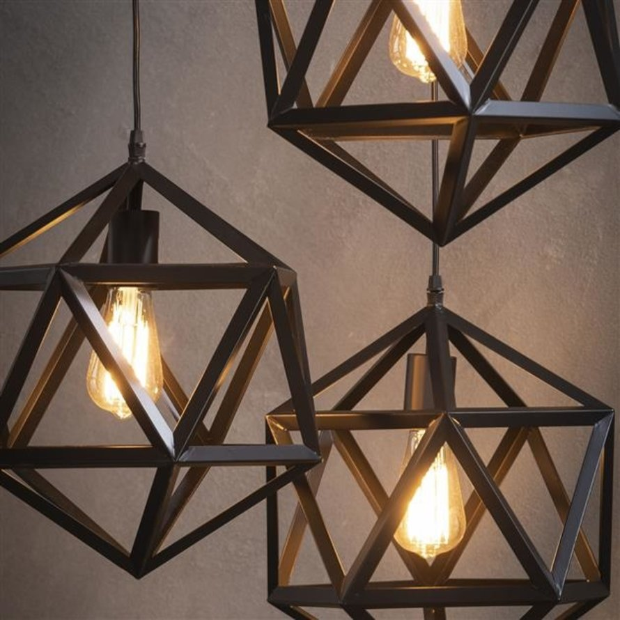 Industriële hanglamp Jase 3-lichts zwart metaal