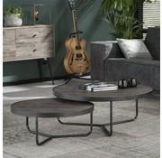 Industriële salontafel set Serge bruin acacia hout (set van 2)