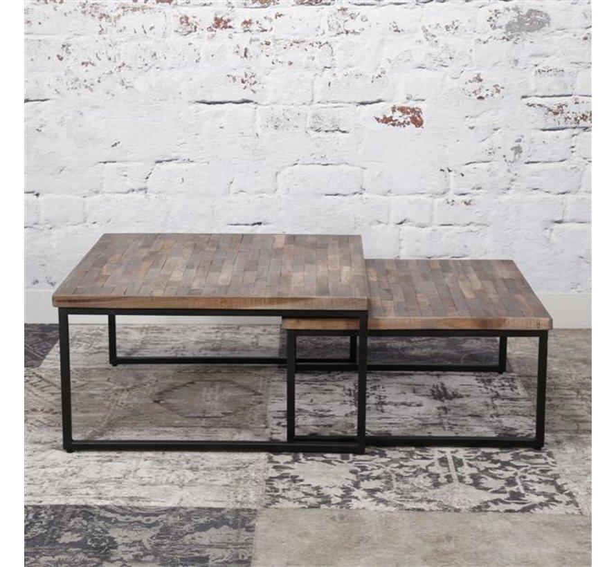 Industriële salontafel set Jared Teakhout greywash (set van 2)