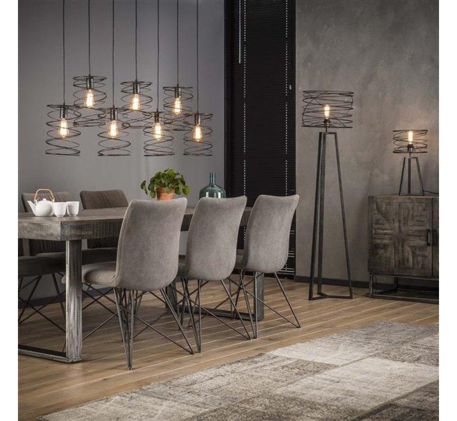 Industriële hanglamp Curl charcoal 7-lichts
