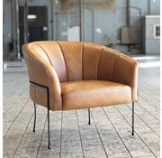 Industriële fauteuil Omigi sand leer