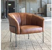 Industriële fauteuil Omigi cognac leer