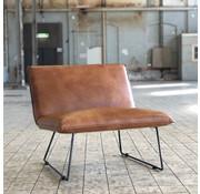 Industriële fauteuil Lima cognac leer