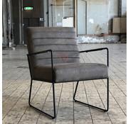 Industriële fauteuil Ricardo taupe kunstleer