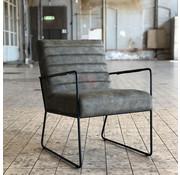Industriële fauteuil Ricardo olijfgroen kunstleer