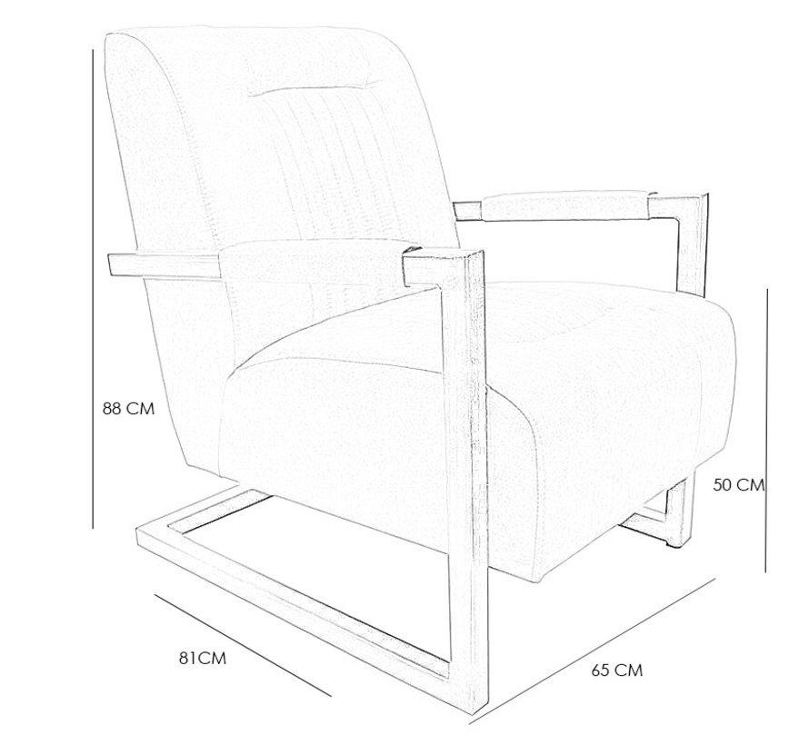 Industriële fauteuil Austin cognac microvezel