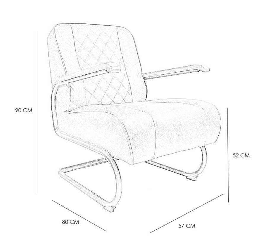 Industriële fauteuil Milan cognac leer