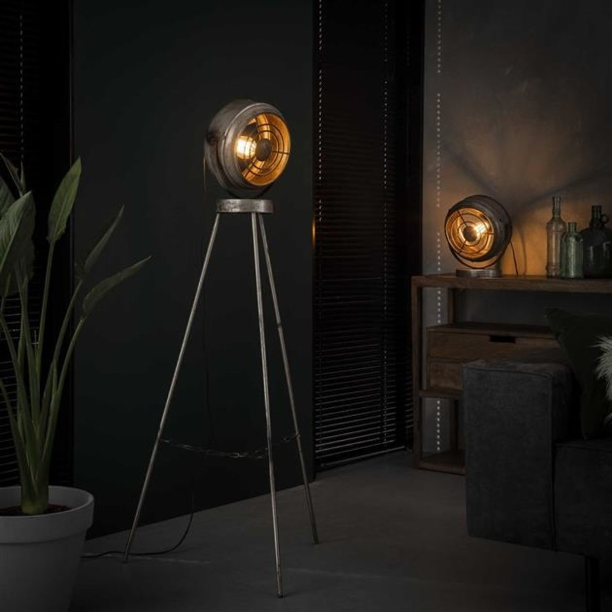 Industriële vloerlamp Venti Oud zilver