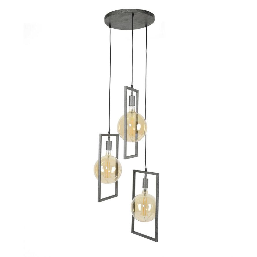 Industriële hanglamp Scope Oud zilver 3-lichts