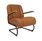 Industriële fauteuil Milan cognac PU leer
