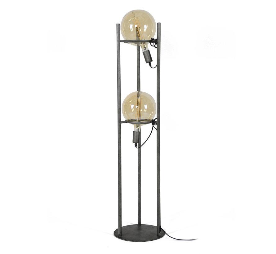 Industriële vloerlamp Cosmos Oud zilver 2-lichts