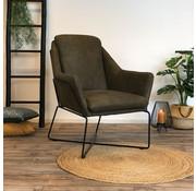 Industriële fauteuil Donna olijfgroen