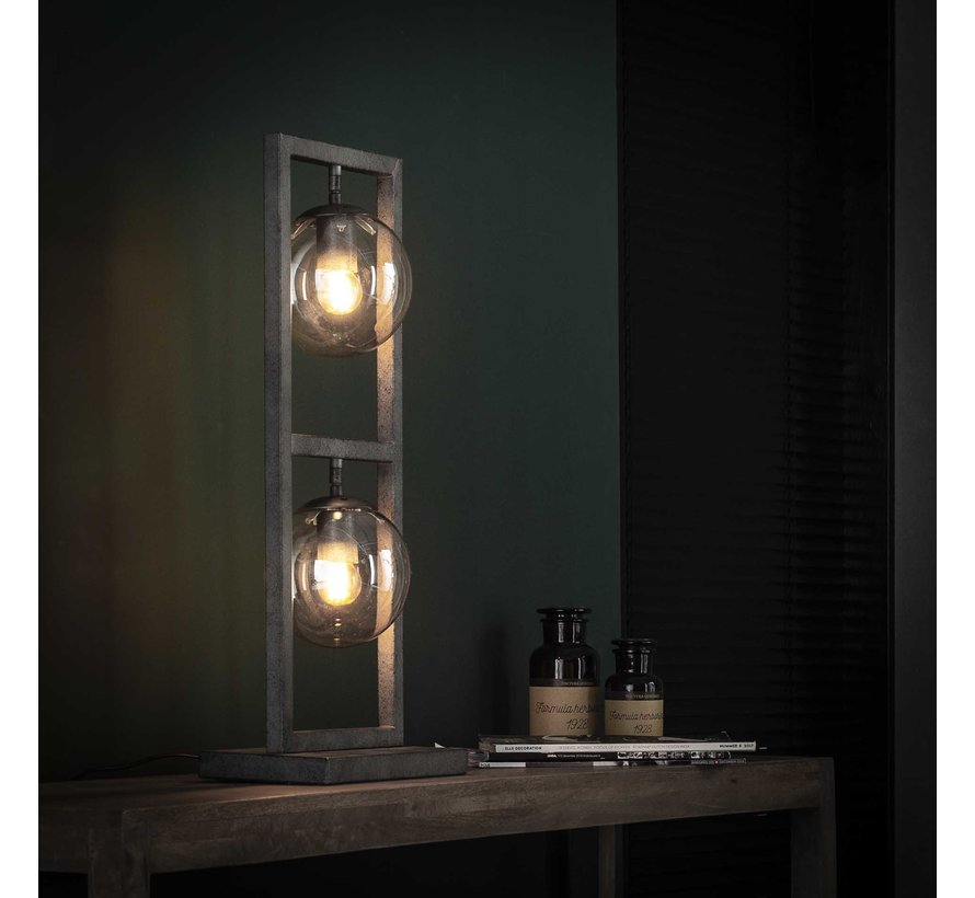 Industriële tafellamp Carter 2-lichts oud zilver