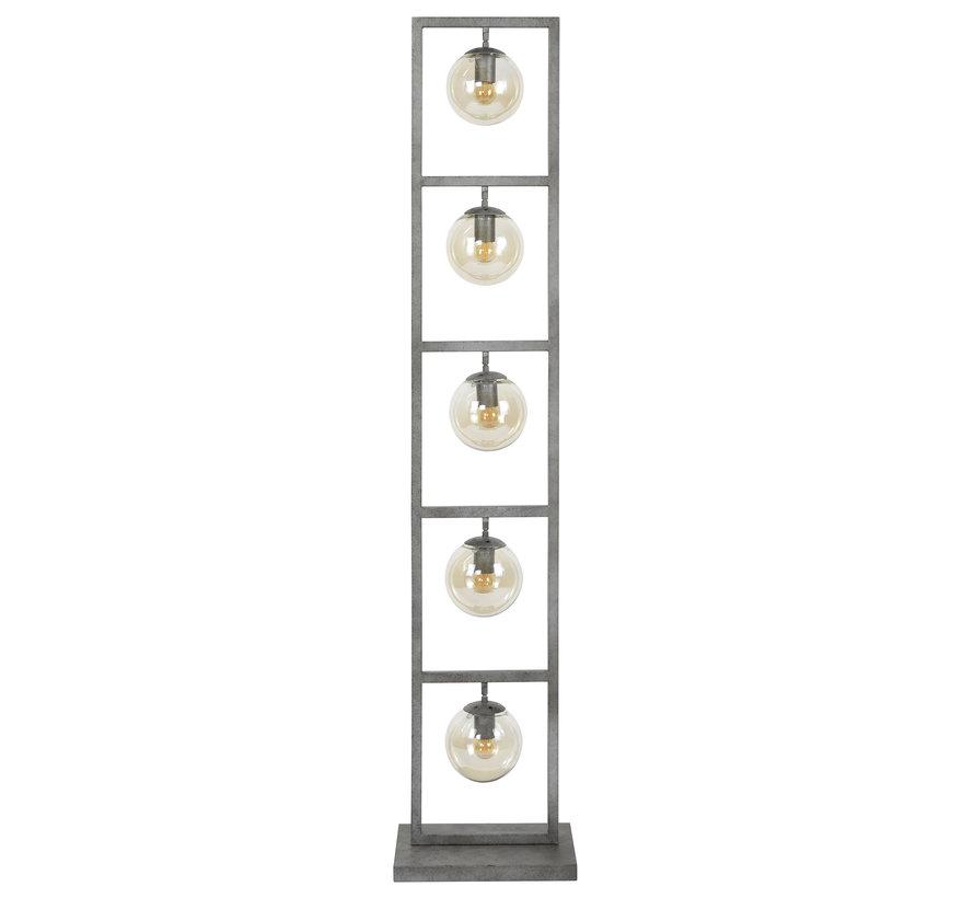 Industriële vloerlamp Carter 5-lichts oud zilver