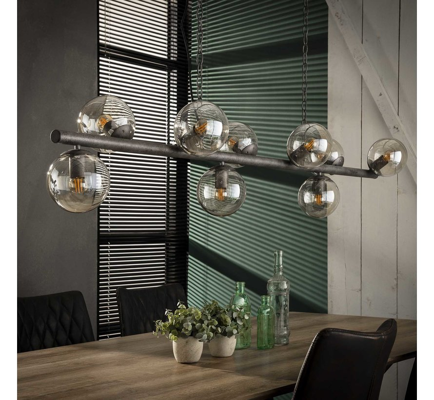 Industriële hanglamp Carter 9-lichts oud zilver