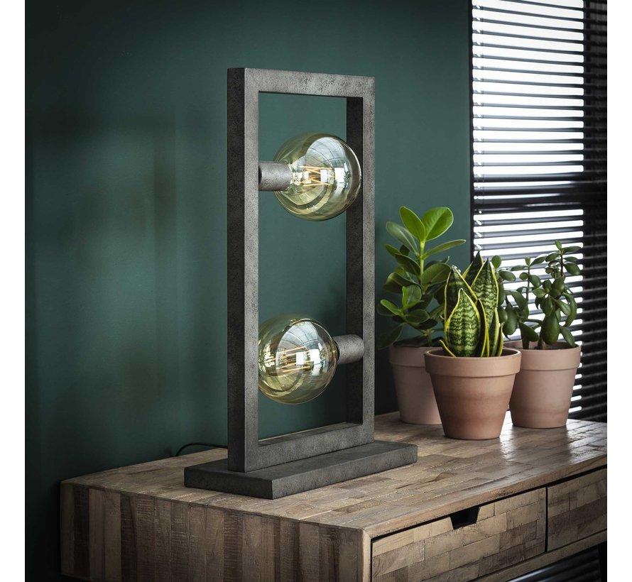 Industriële tafellamp Jordan 2-lichts oud zilver