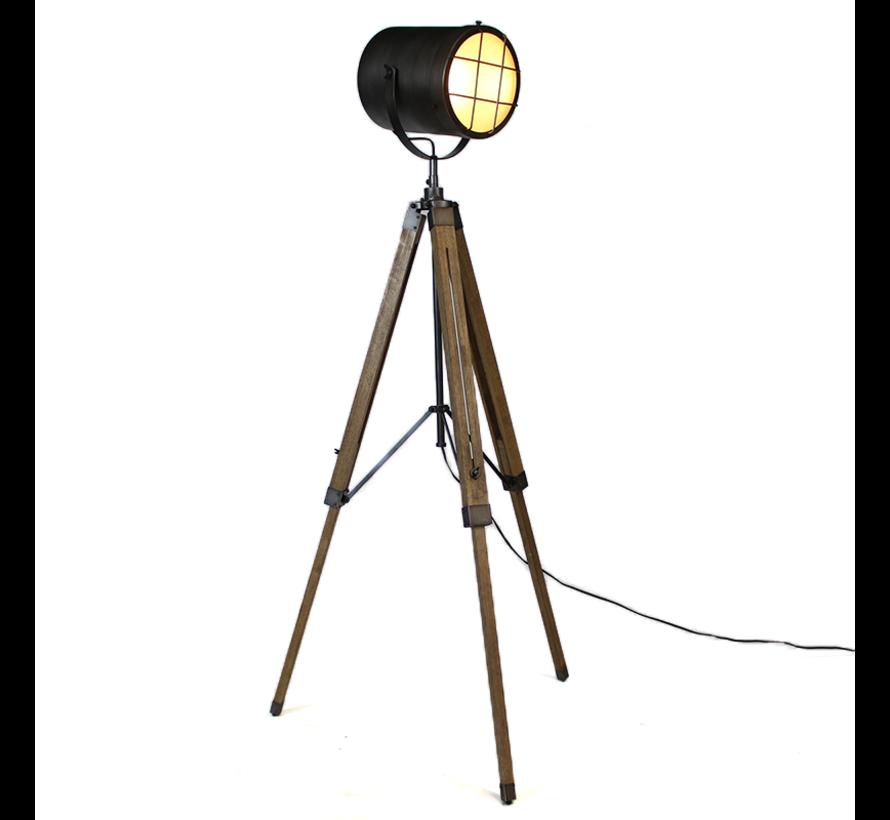 Industriële vloerlamp Jena hout metaal