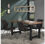Industriële eetkamertafel Timber acaciahout 165x85