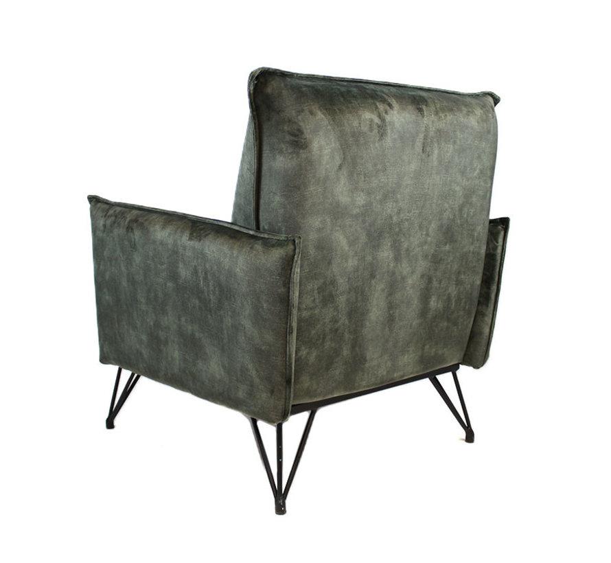 Velvet fauteuil Mika groen