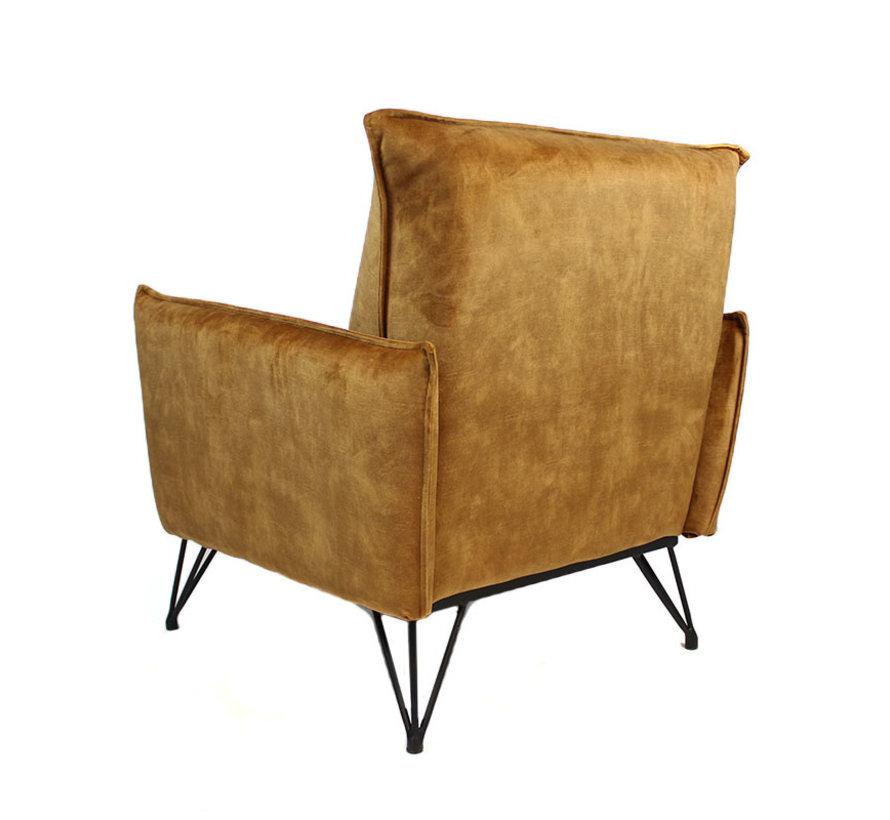 Moderne fauteuil Mika luxury cognac/bruin velvet