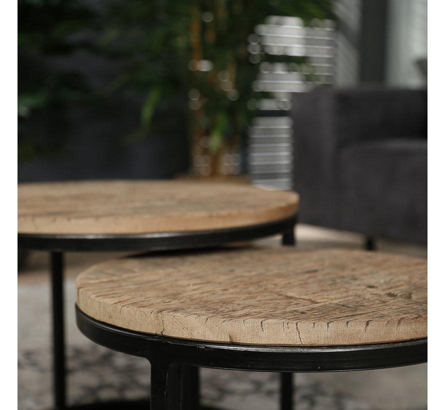 Industriële salontafel set Soren rond (set van 2)