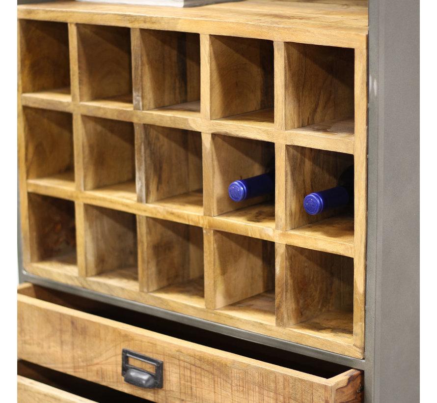 Industriële wijnkast Provence mangohout metaal 180x70