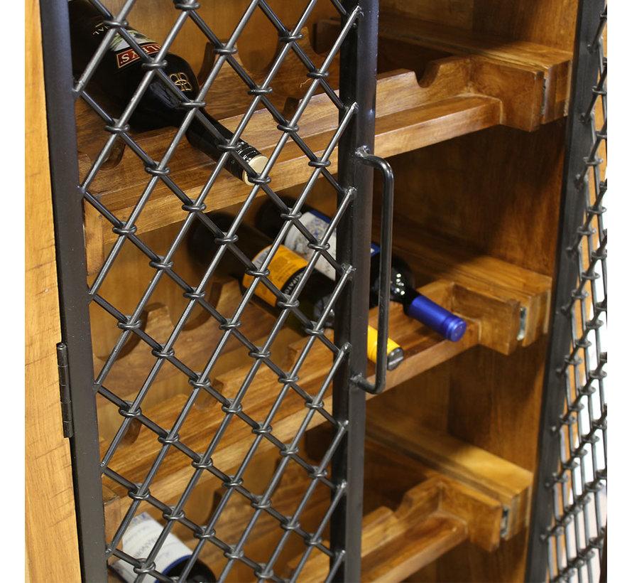 Industriële wijnkast Elsaz mangohout 182x86