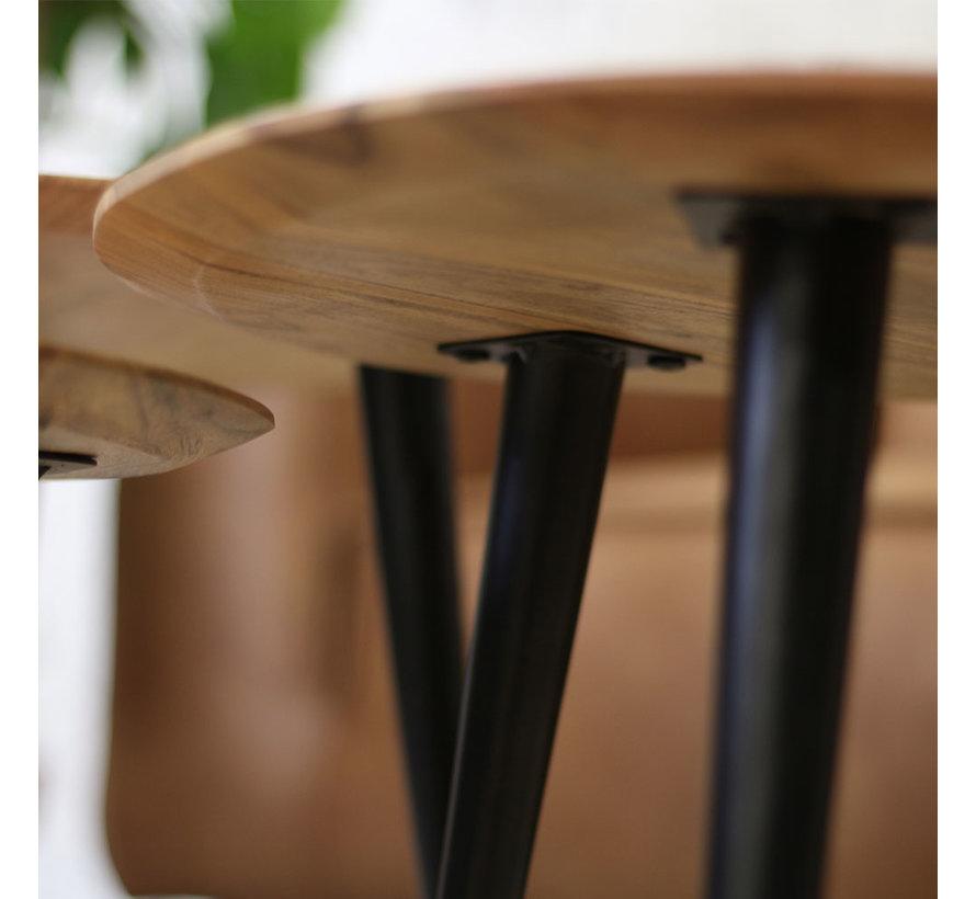 Moderne Salontafel set Ivo acaciahout (3 stuks)