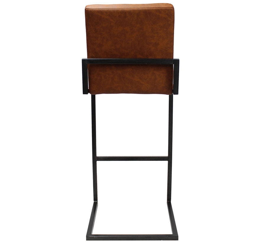 Industriële barkruk David cognac PU Leder 78 cm