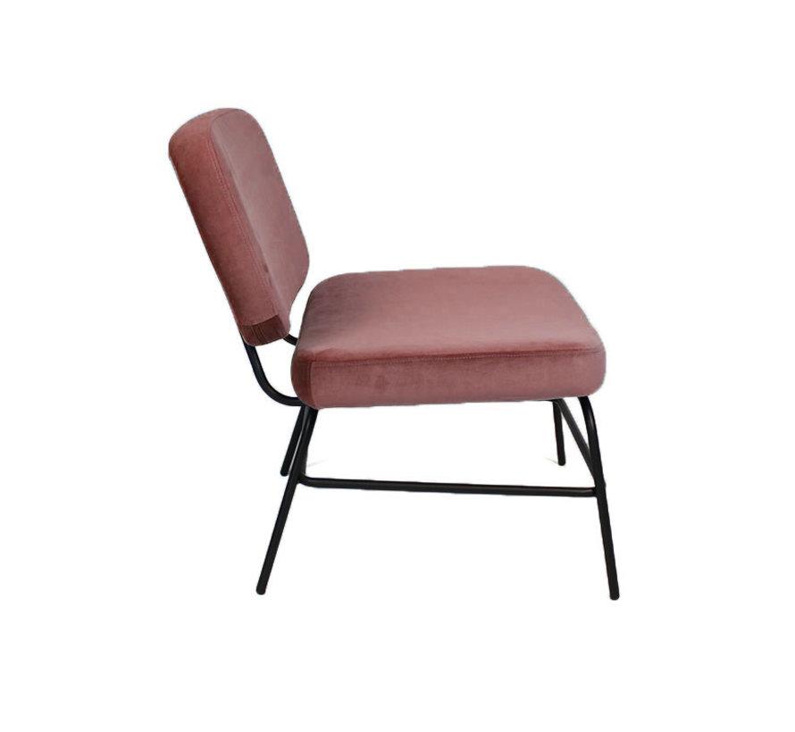 Kleine velvet fauteuil Elena roze