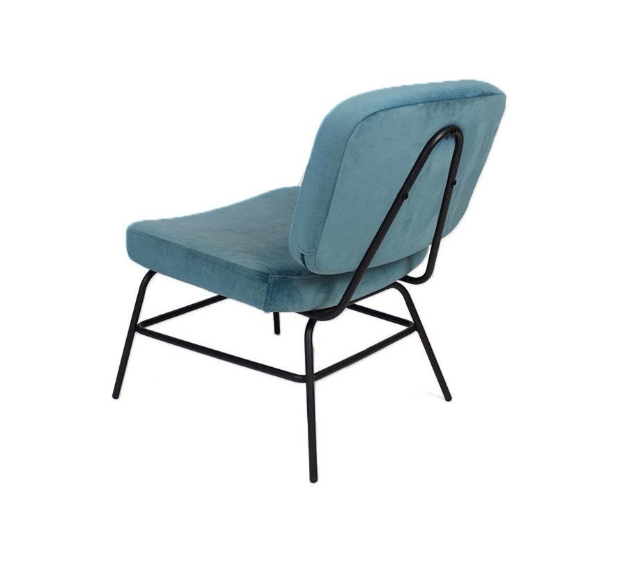 Kleine velvet fauteuil Elena blauw