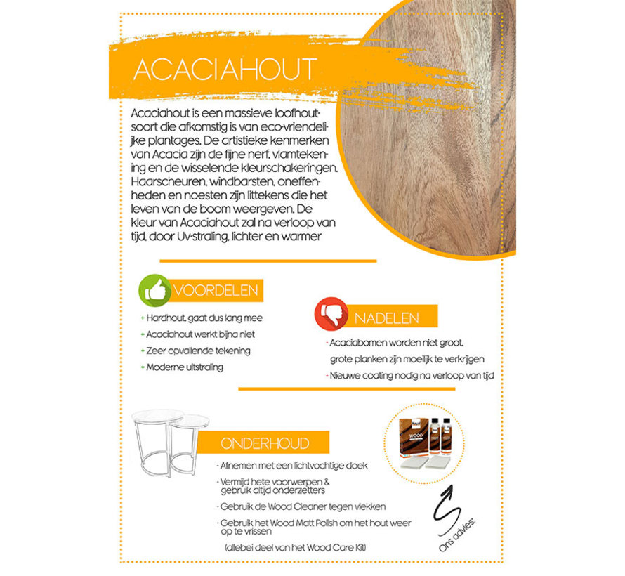 Industriële bijzettafel set Grace acaciahout rond (2 stuks)