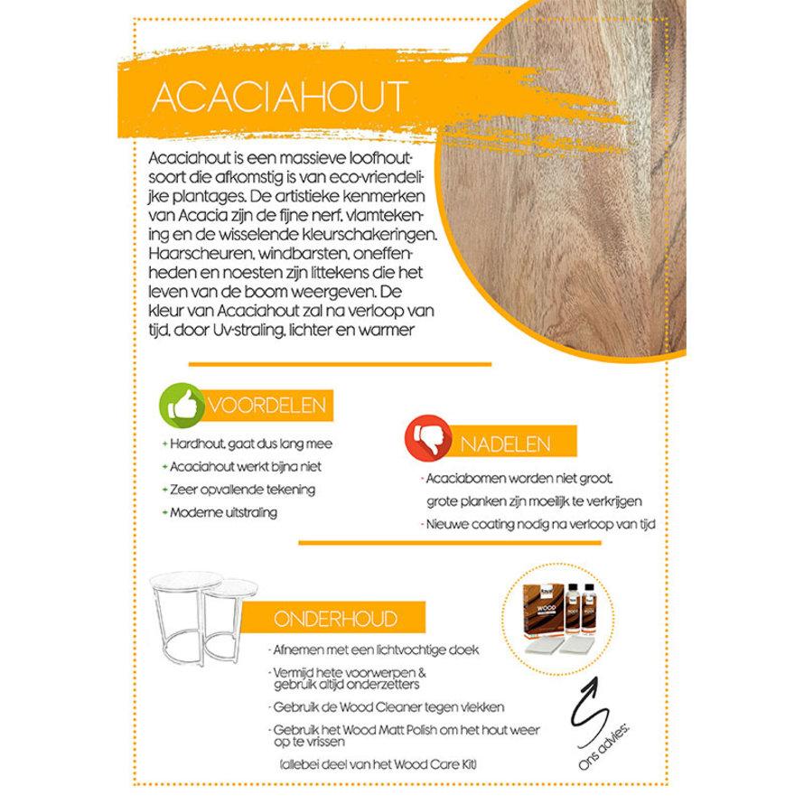 Industriële eetkamertafel Madrid acaciahout 200 x 100 cm RVS frame