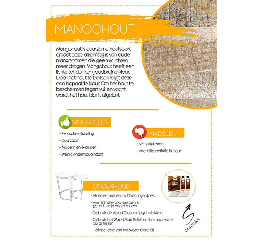 Industriële Salontafel set Levi mangohout (set van 2)