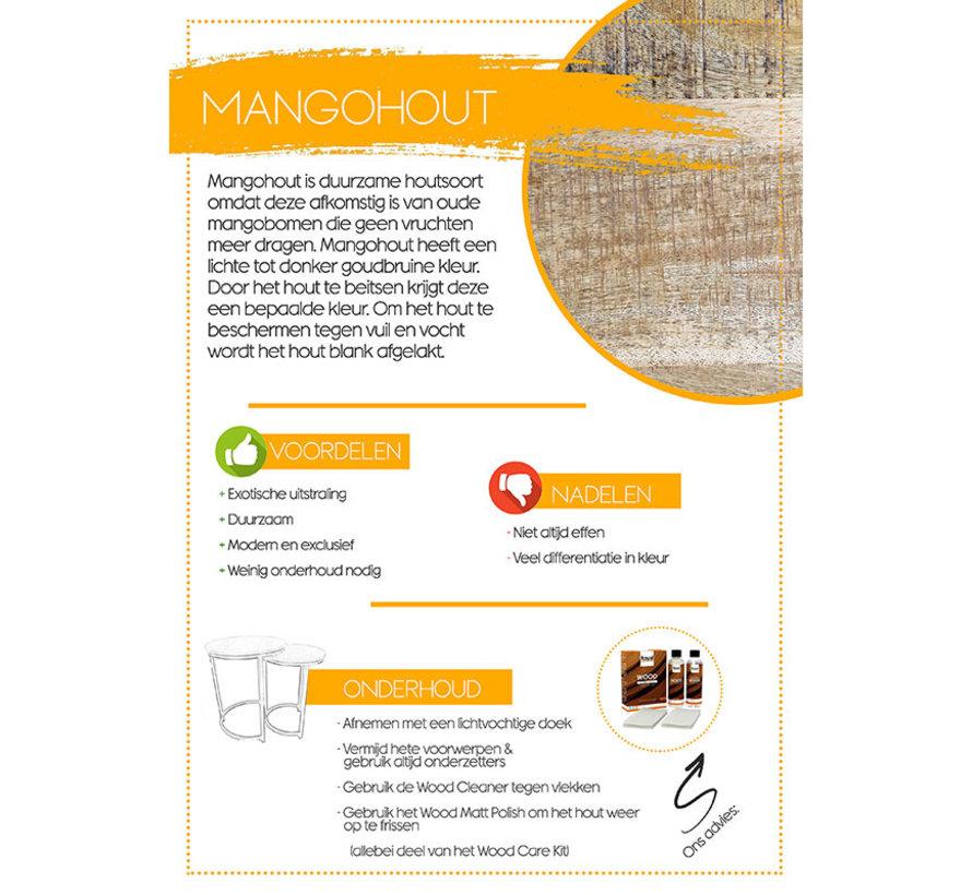 Industriële eetkamertafel Memphis mangohout 230 x 95 cm U-frame