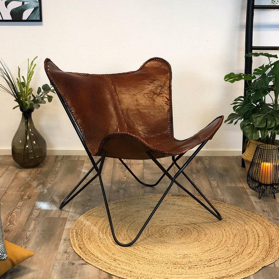 Vlinderstoel Fly cognac bruin leer