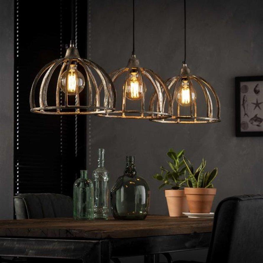 Industriële hanglamp Skye 3-lichts Ø30 antiek nikkel