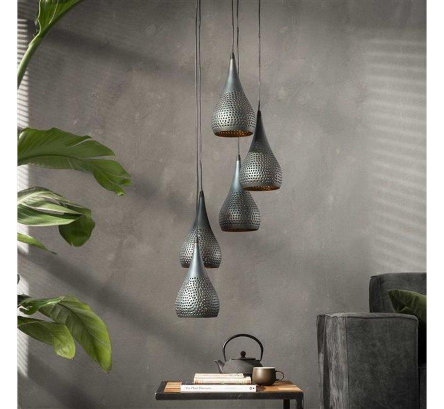 Industriële hanglamp Mia 5-lichts druppel zwart/brons