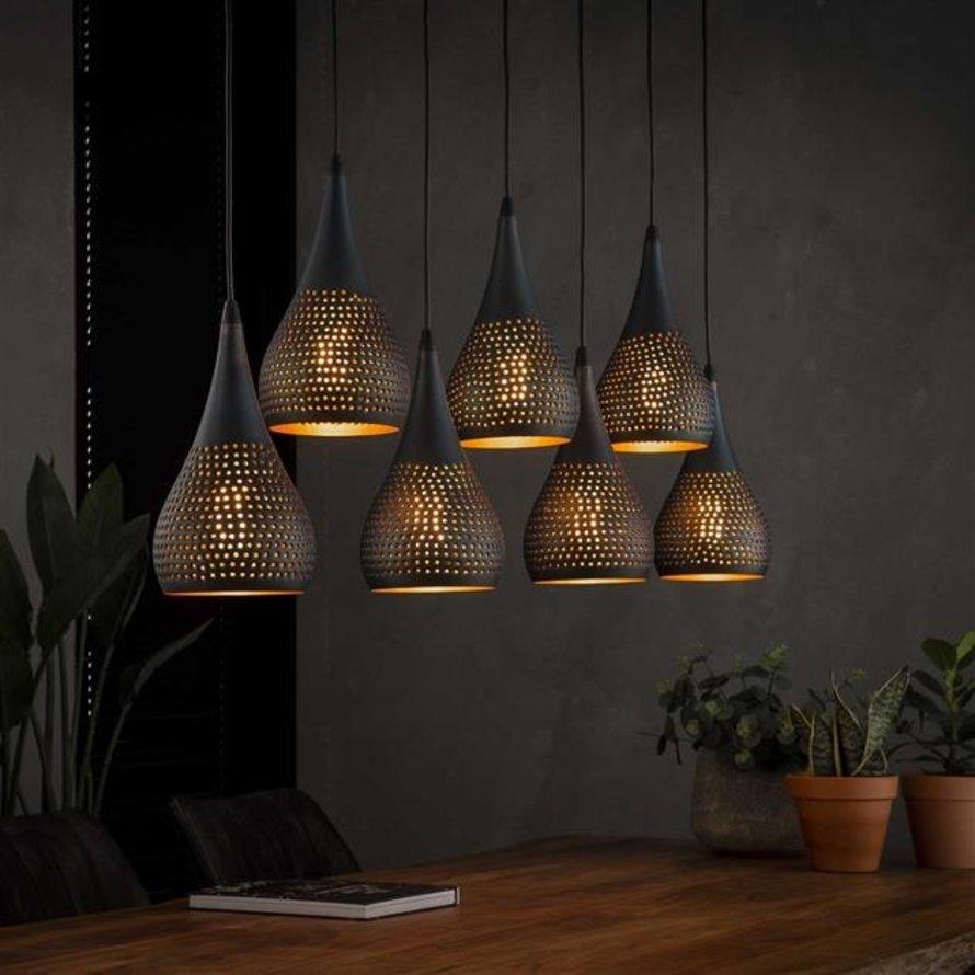 Industriële hanglamp Mia 7-lichts druppel zwart/brons