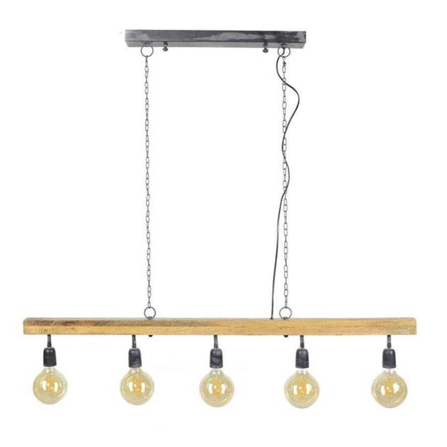 Industriële hanglamp Wood 5-lichts mangohout