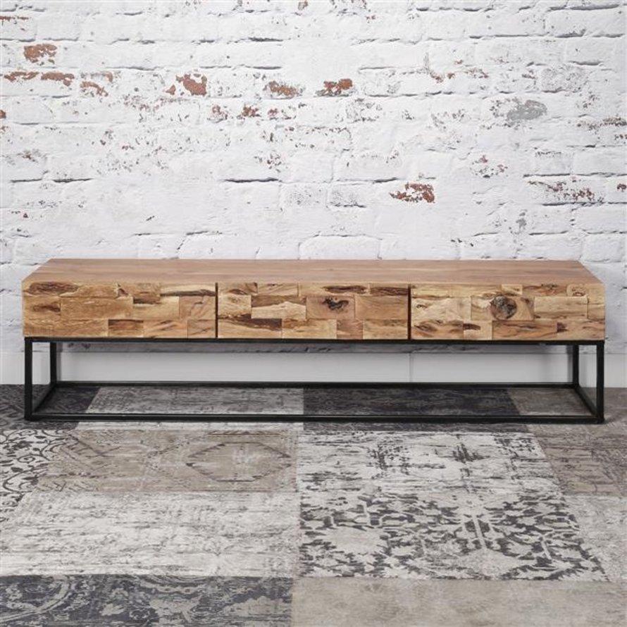 Industrieel tv-meubel Brick acaciahout