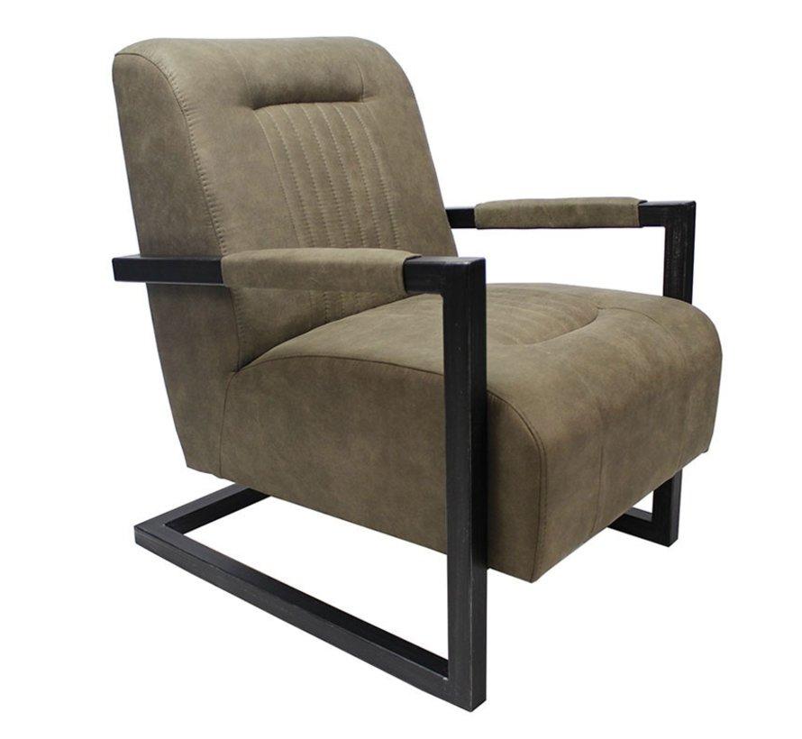 Industriële fauteuil Robert olijfgroen microvezel
