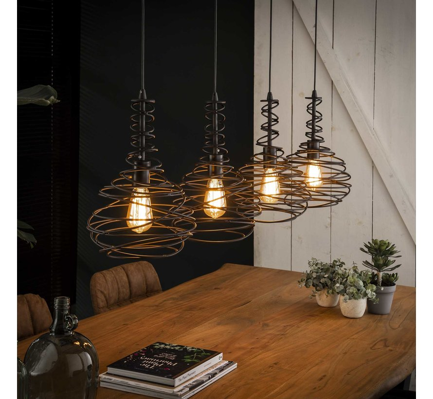 Industriële hanglamp Cone 4-lichts zwart metaal