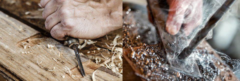 Ambachtelijk houtwerking robuuste tafels