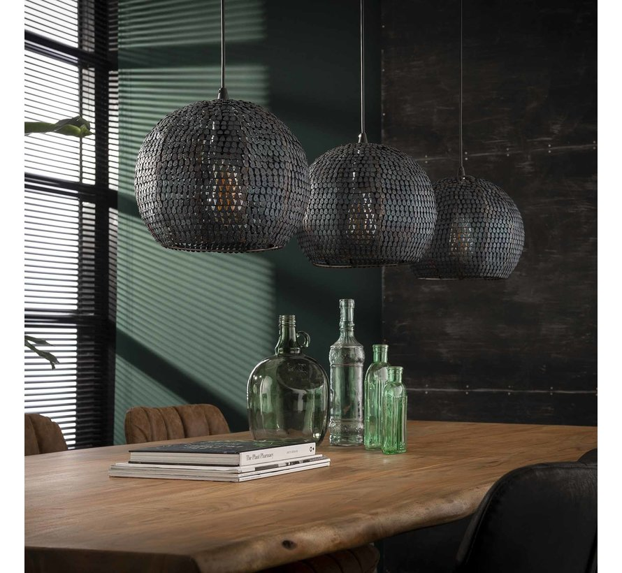 Industriële hanglamp Meghan 3-lichts bruin half rond