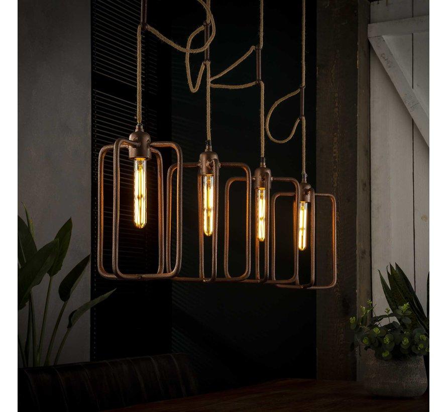 Industriële hanglamp Pixie 4-lichts koper aluminium